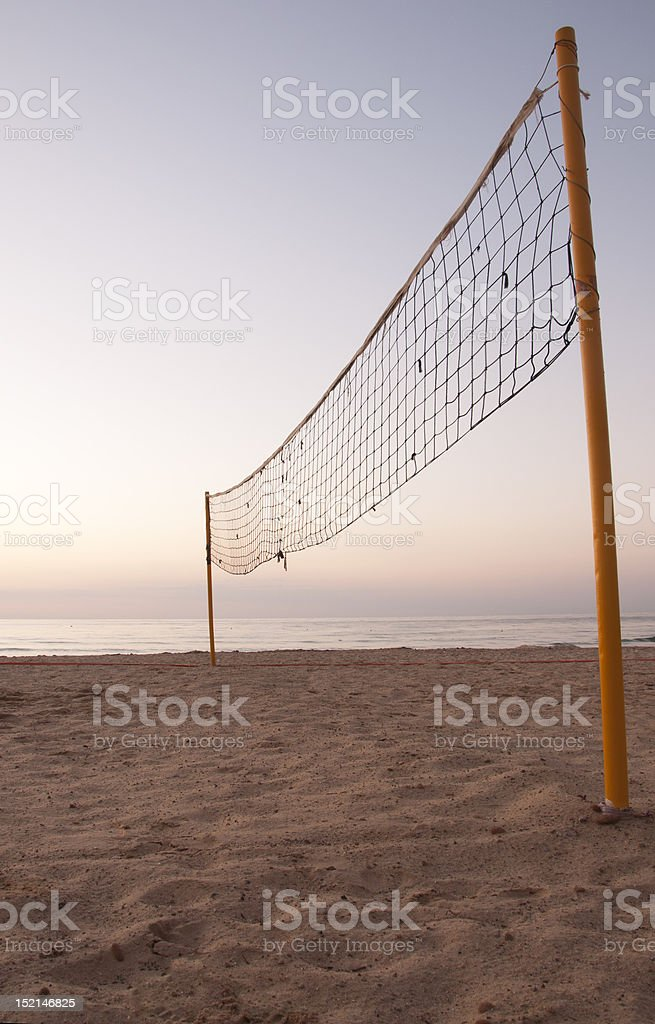 Sunrise on Beachvolley field royalty-free stock photo