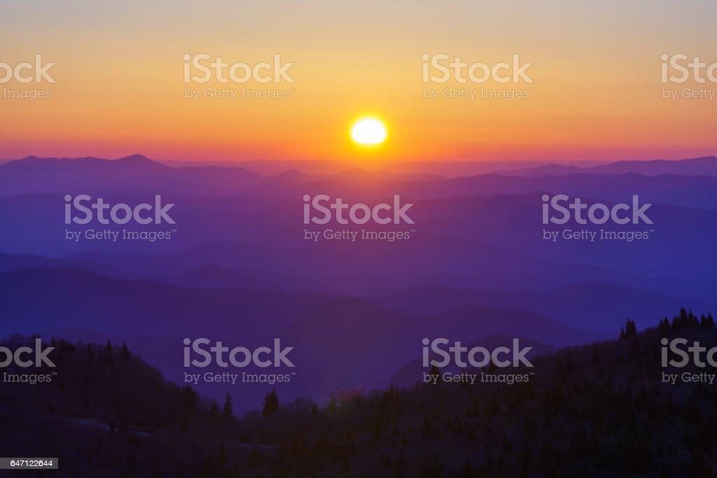 Sunrise on Black Balsam stock photo
