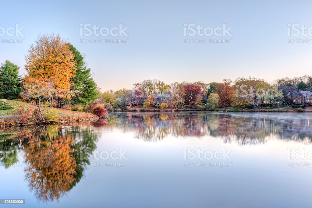 Sunrise on Braddock lake with reflection in autumn stock photo