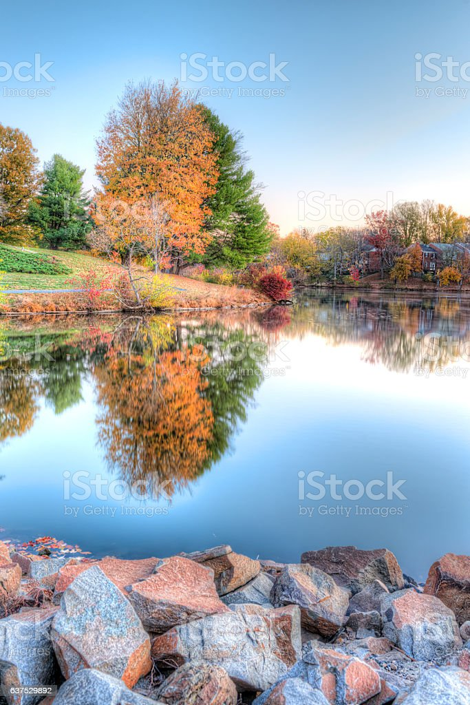 Sunrise on Braddock lake with reflection in autumn stock photo