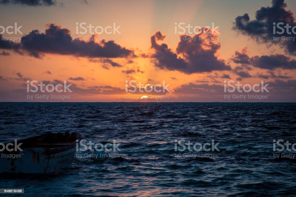 sunrise on Caribbean Sea stock photo