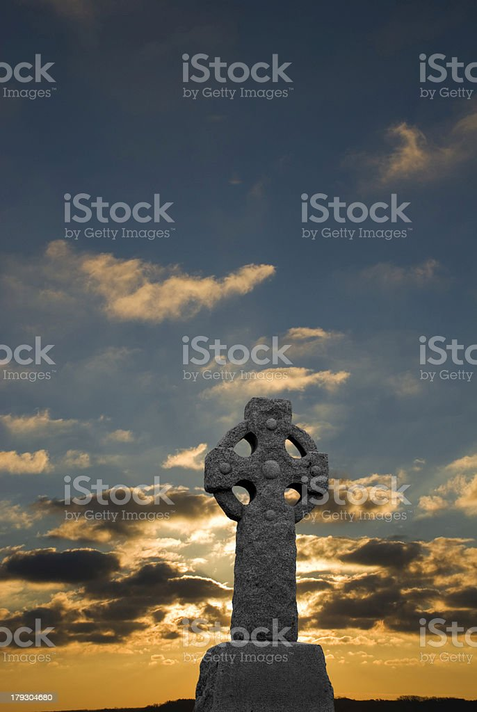 Sunrise on Celtic Cross stock photo
