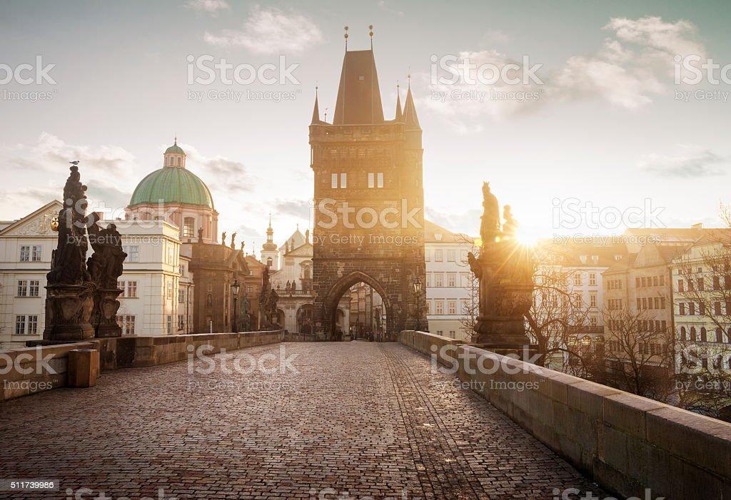 Sunrise on Charles Bridge in Prague, Chech Republic stock photo