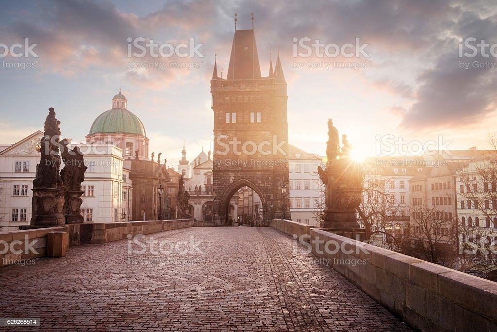 Sunrise on Charles Bridge in Prague, Czech Republic stock photo