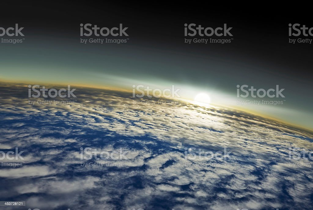 Sunrise on earth seen from space stock photo