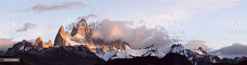 Sunrise on Fitz Roy, El Chalten, Patagonia, Argentina. royalty-free stock photo