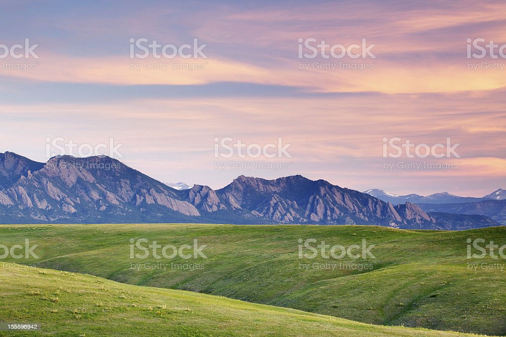 Sunrise on Flatirons of Boulder Colorado stock photo
