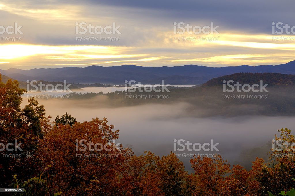 Sunrise on Foothills Parkway West, Smoky Mountains, TN USA. royalty-free stock photo