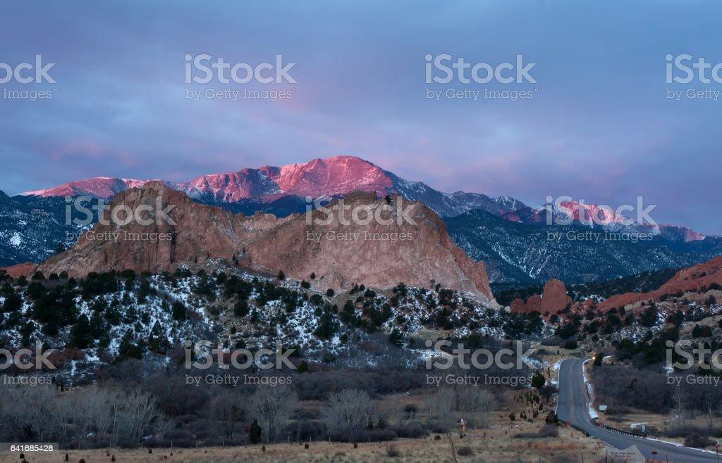 sunrise on Garden of the Gods, Colorado Springs stock photo