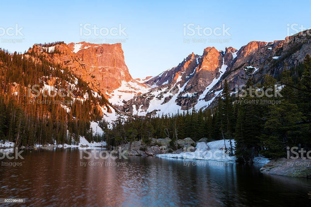 Sunrise on Hallett's Peak stock photo