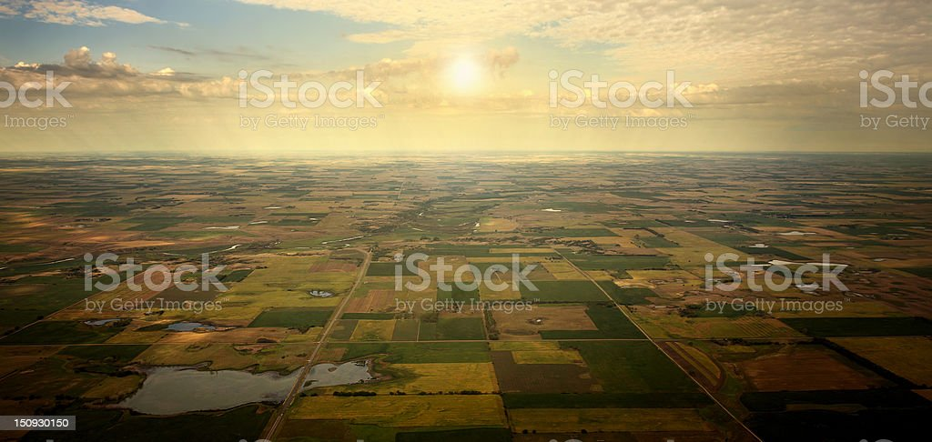 Sunrise on Horizon, aerial view of South Dakota Farm land. stock photo