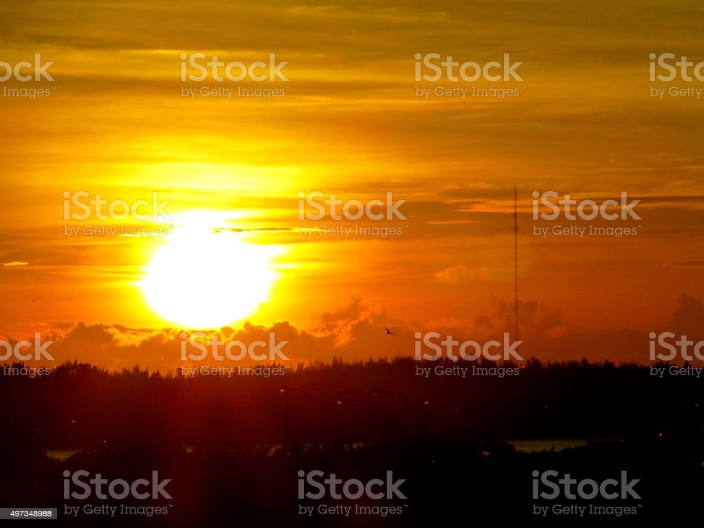Sunrise on Key Biscayne stock photo
