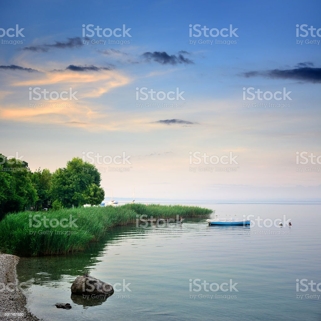 Sunrise on Lake Garda, Italy stock photo