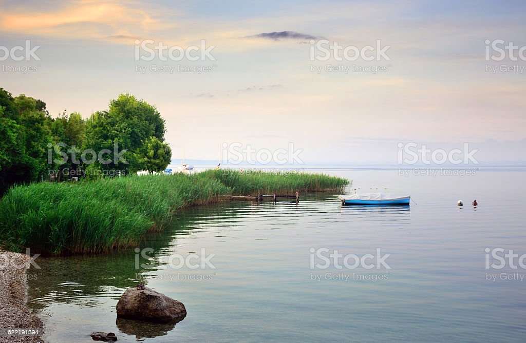Sunrise on Lake Garda, Italy stock photo