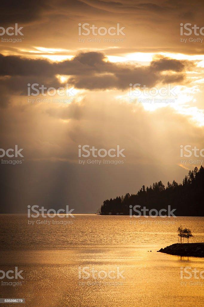 Sunrise on Lake Pend Oreille in northern Idaho stock photo