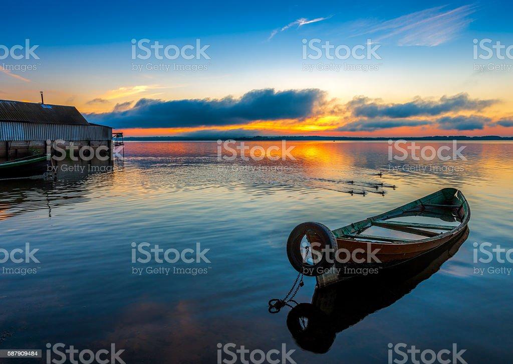 Sunrise on Lake Seliger stock photo