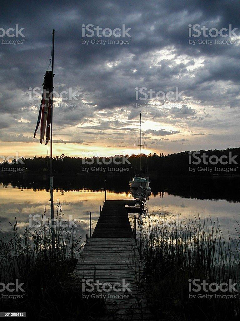 Sunrise on Leech Lake stock photo