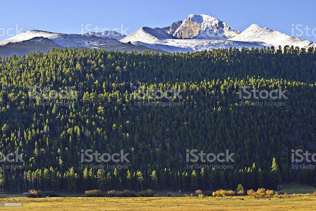 Sunrise On Longs Peak, Rocky Mountain National Park, Colorado stock photo
