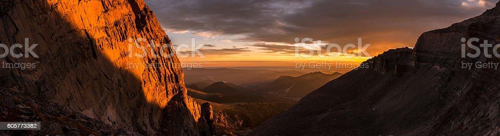 Sunrise on Longs Peak, Rocky Mountain National Park.  Colorado, USA stock photo