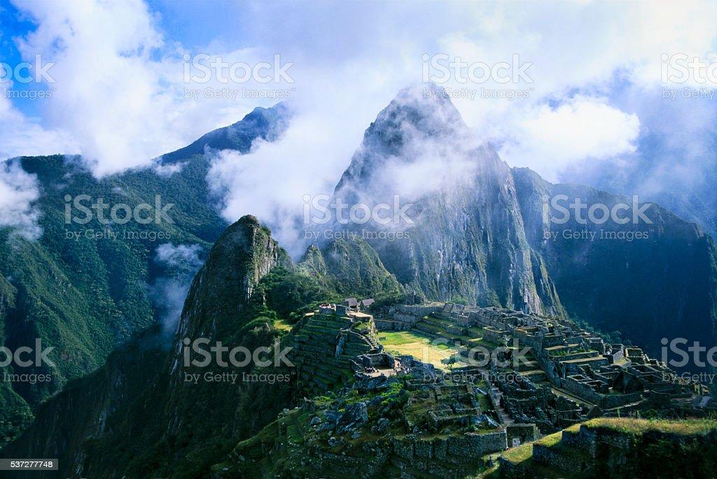 Sunrise on Machu Pichu stock photo