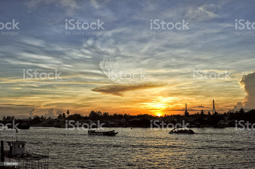 Sunrise on Mekong river royalty-free stock photo