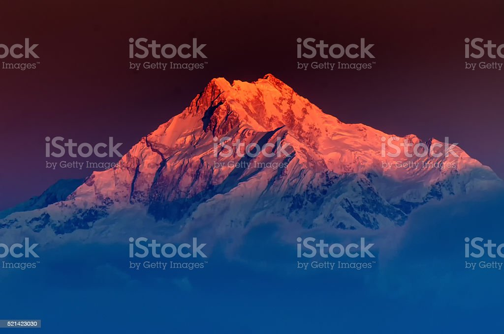 Sunrise on Mount Kanchenjugha, at Dawn, Sikkim stock photo