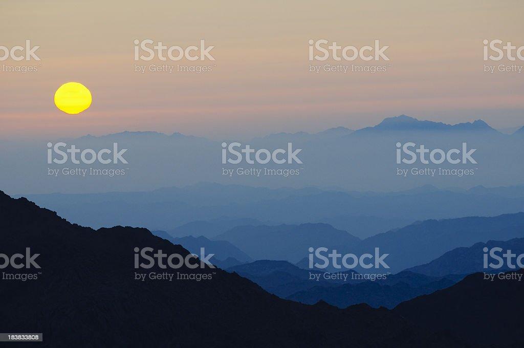 Sunrise on Mount Sinai, Egypt stock photo