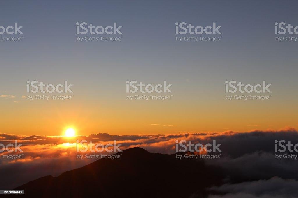 Sunrise on Mt. Haleakala stock photo