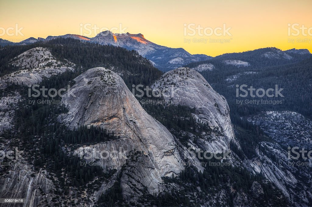 Sunrise on North Dome stock photo