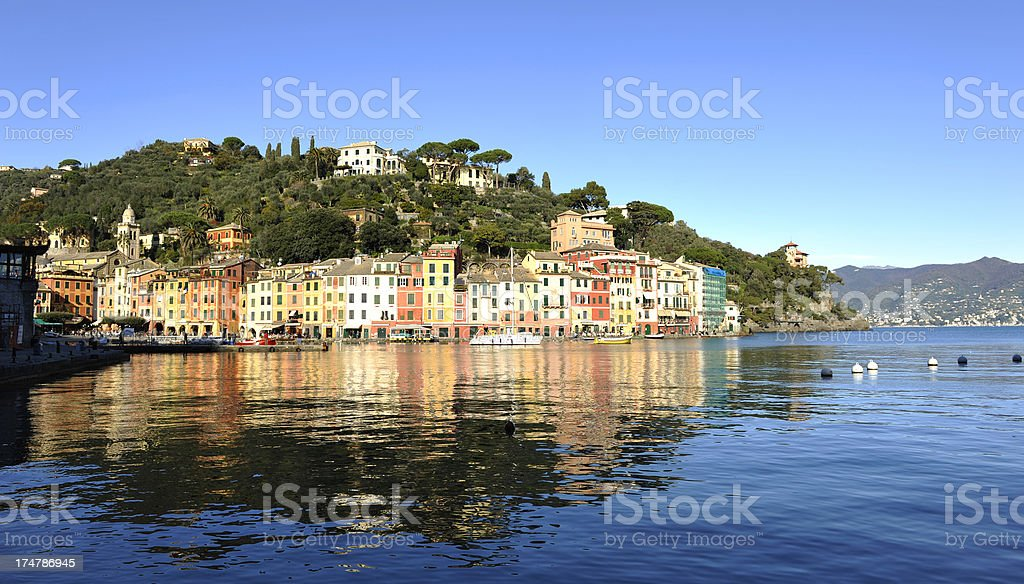 Sunrise on Portofino in winter stock photo