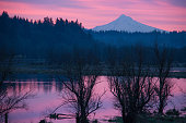 Sunrise on Salmon Creek with Mount Hood in the Distance