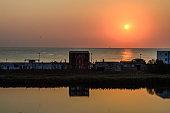 Sunrise on seaside, clear water, the shore of Black Sea