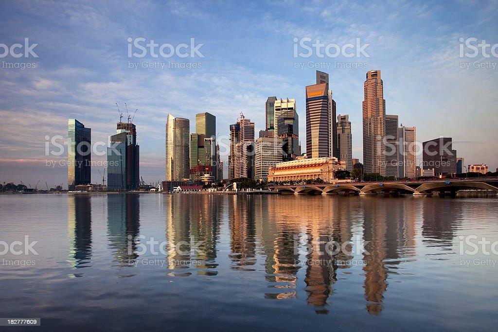 Sunrise on Singapore Business District royalty-free stock photo