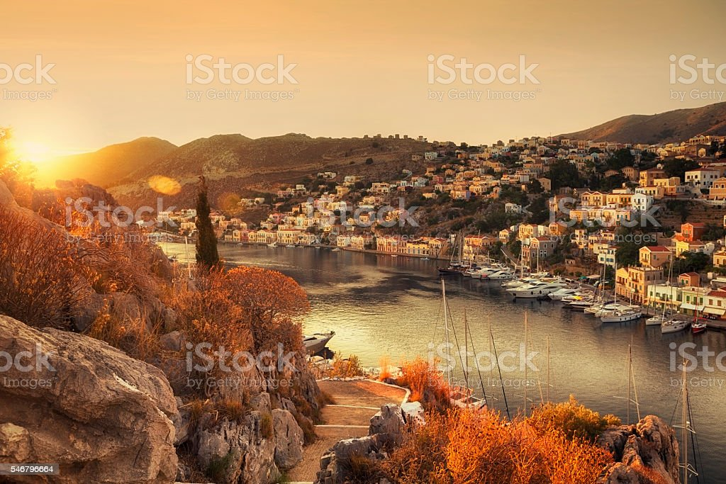 Sunrise on Symi, Greece stock photo