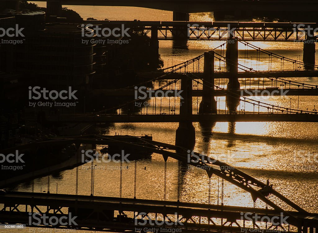 Sunrise on the Allegheny River stock photo