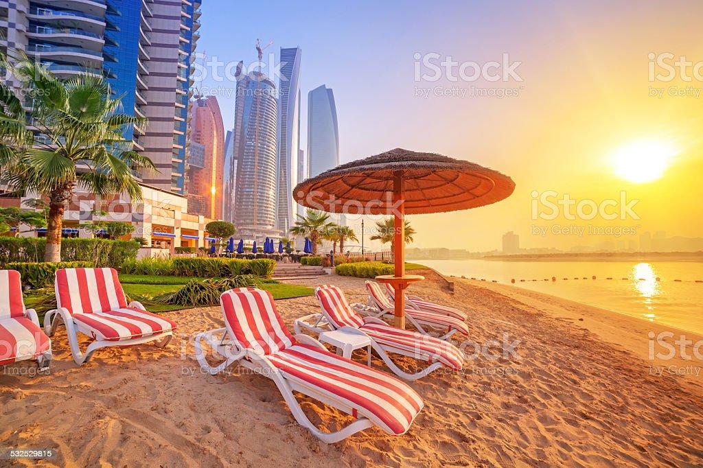 Sunrise on the beach at Perian Gulf stock photo