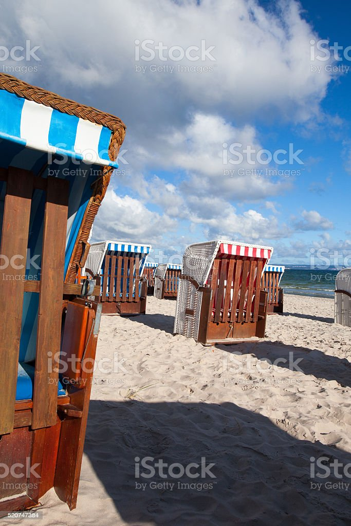 Sunrise  on the beach in Binz, Ruegen Island stock photo