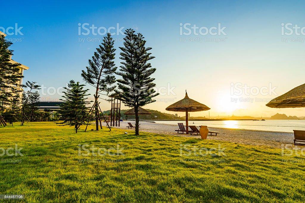 Sunrise on the beach in Ha Long Bay stock photo