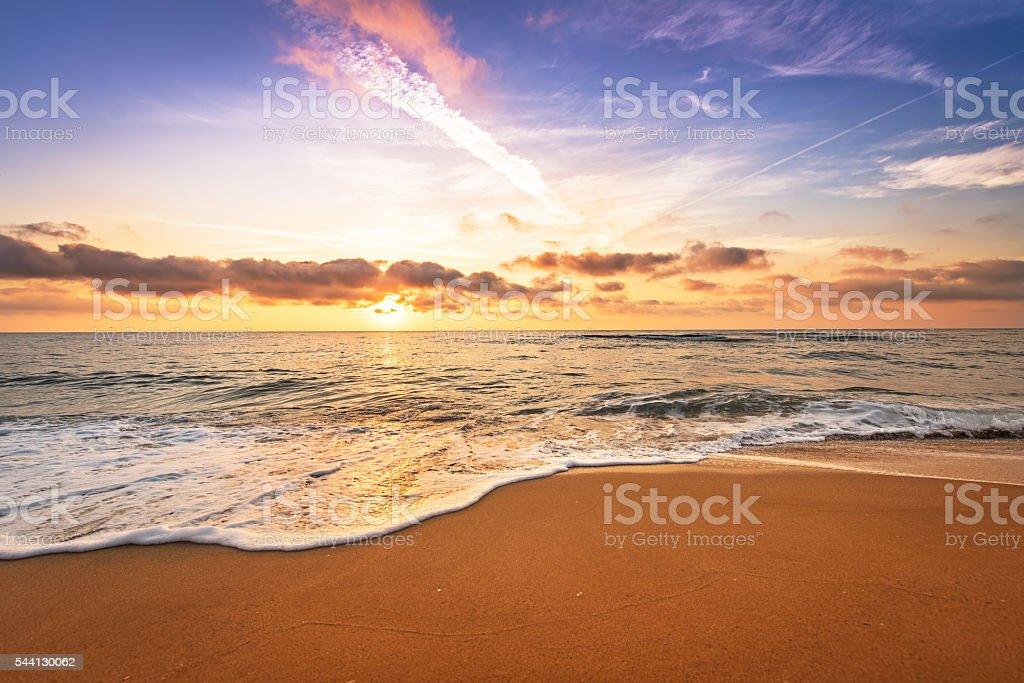 Sunrise on the beach. stock photo