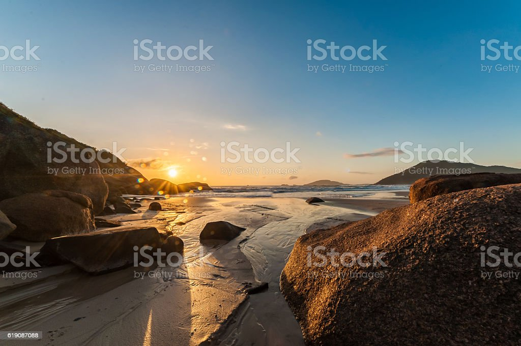 Sunrise on the beach stock photo