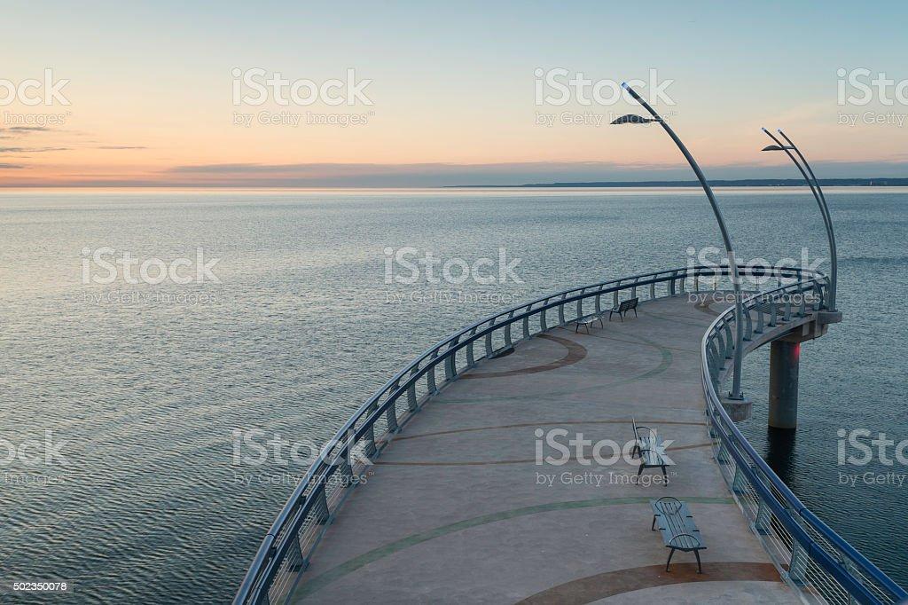Sunrise on the Brant Street Pier stock photo