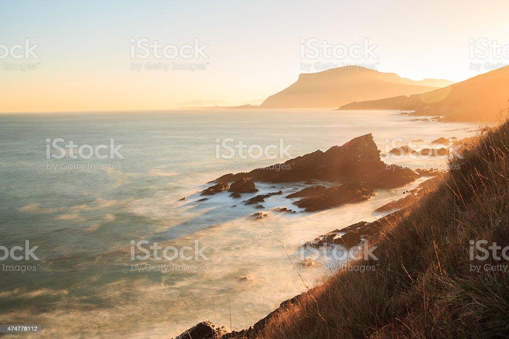 Sunrise on the Cantabrian coast in Muskiz stock photo