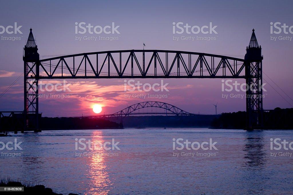 Sunrise on the Cape Cod Canal stock photo