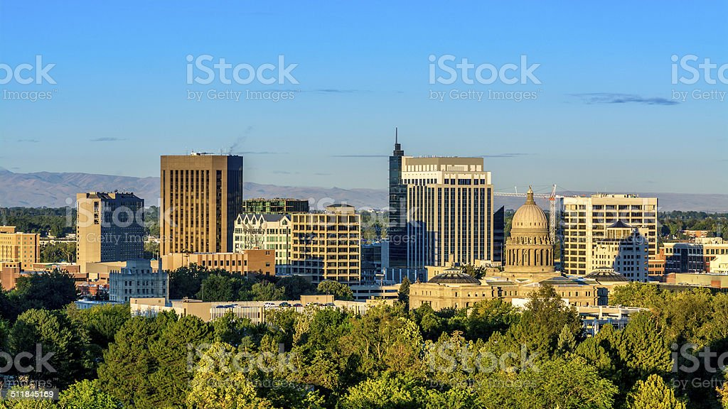 Sunrise on the City of Boise Idaho stock photo