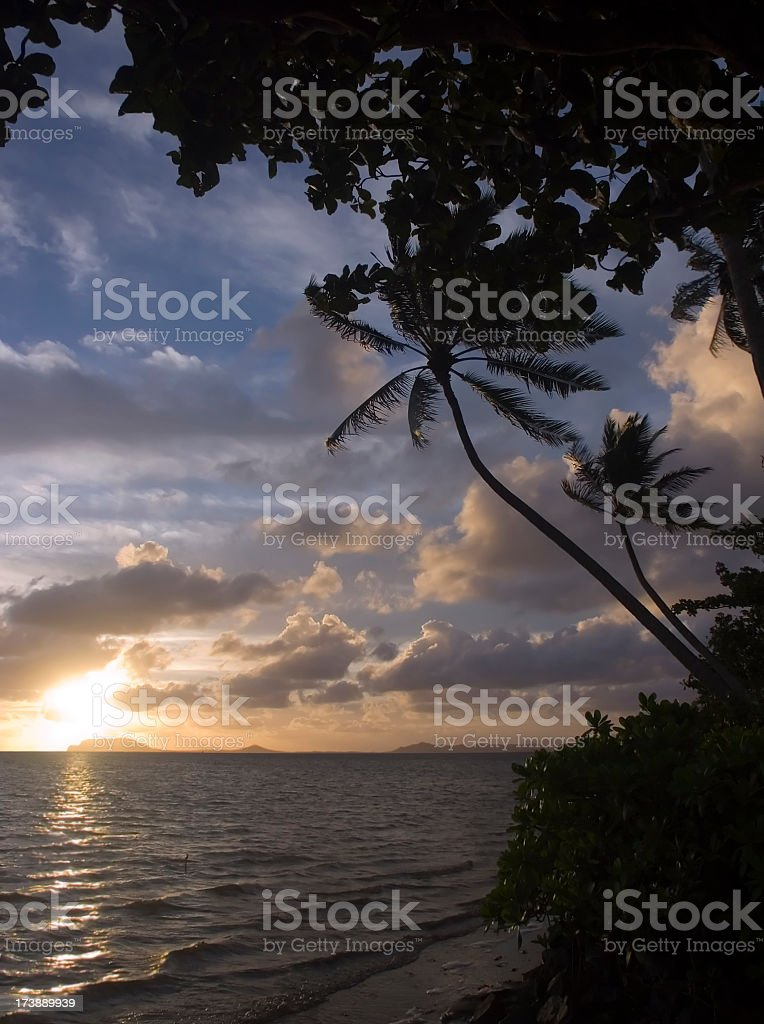 Sunrise on the East shore of O'ahu royalty-free stock photo