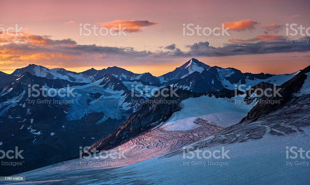 sunrise on the glacier royalty-free stock photo