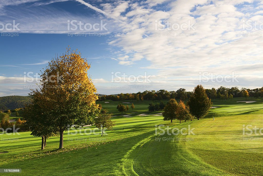 Sunrise on the golf green royalty-free stock photo