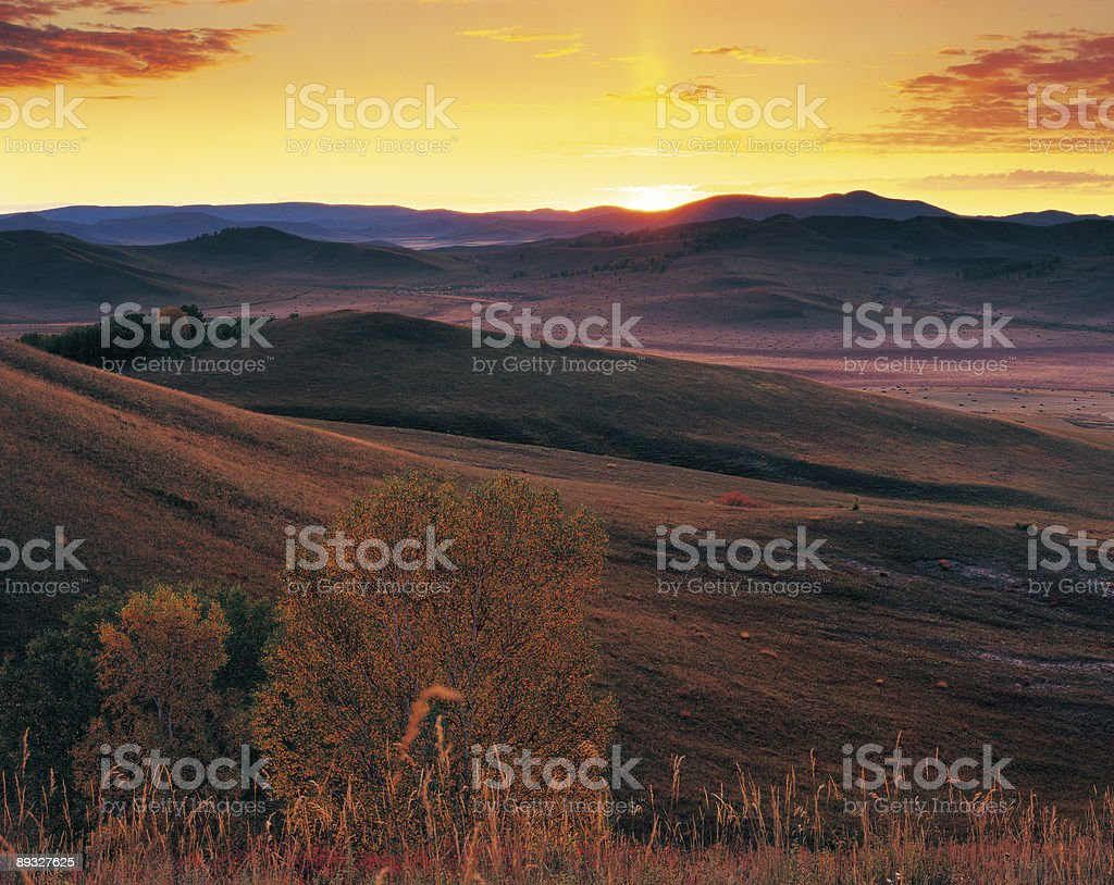 sunrise on the hill stock photo