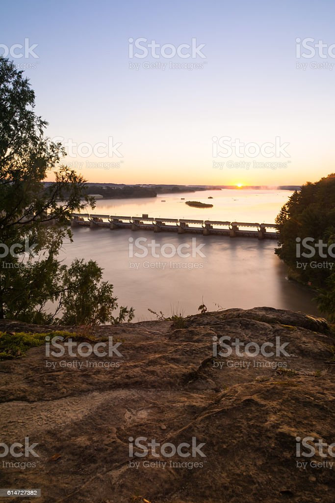 Sunrise on the Illinois River. stock photo