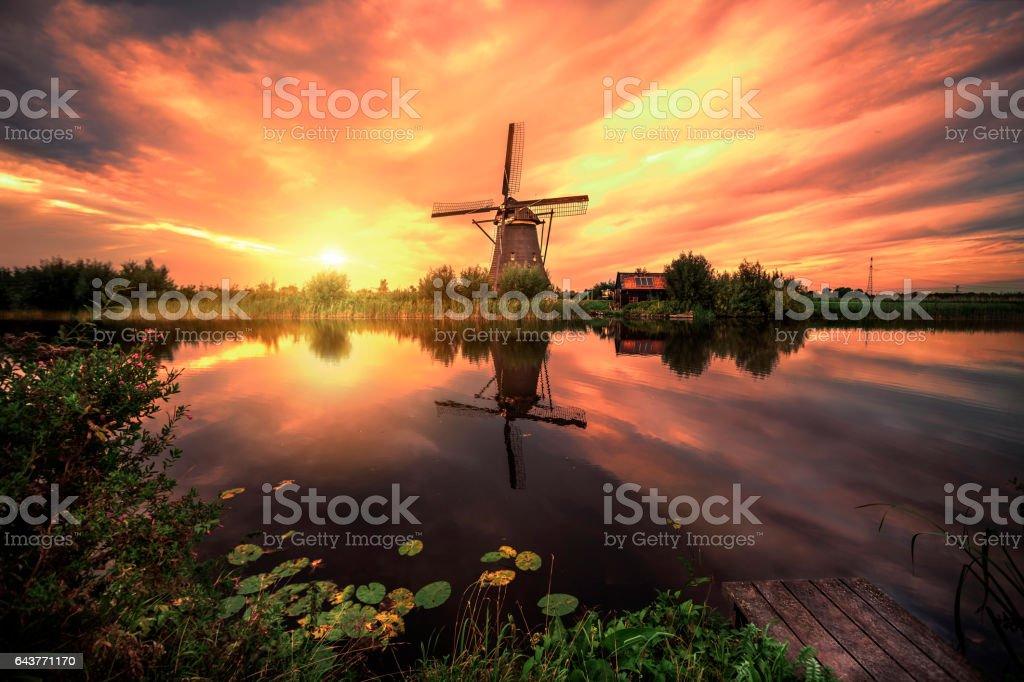 Sunrise on the Kinderdijk stock photo